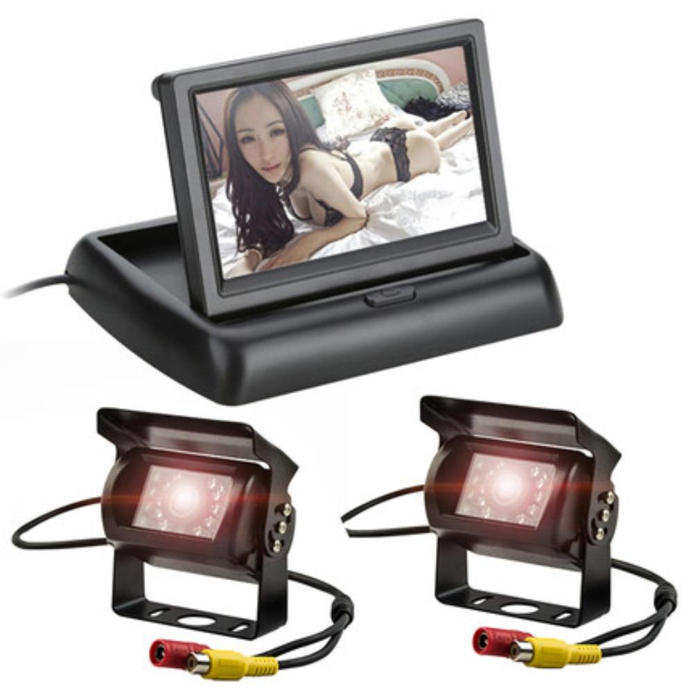 Moniteur de stationnement vidéo de voiture d'affichage à cristaux liquides pliable de 4.3 pouces + 12-24 V vue de face arrière caméra de Bus de secours de Vision nocturne