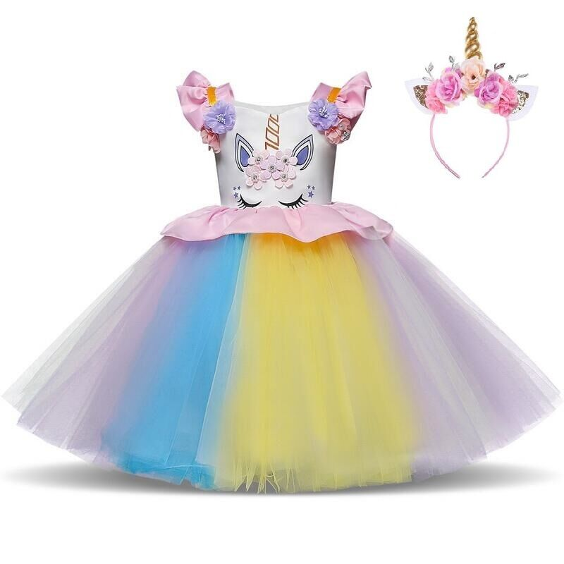 9aedf29e3eaad US $8.02 27% OFF Fancy Kids Unicorn Rainbow Flowers Tutu Dresses Ruffle  Flying Sleeve for Girls Princess Dresses Birthday Theme Party Costumes -in  ...