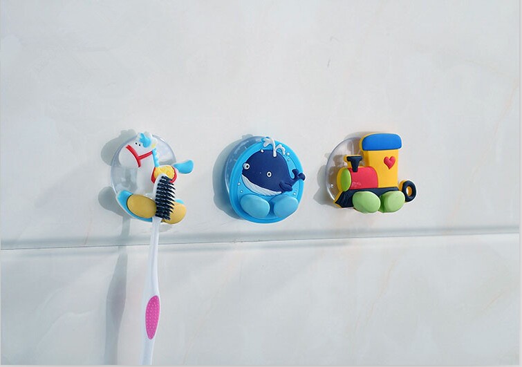 New Cute Cartoon Sucker Toothbrush Holder Suction Hooks Bathroom Set Accessories Eco-Friendly Free shipping JJ190
