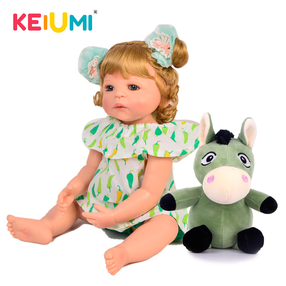 KEIUMI 22 Full Silicone Vinyl Reborn Baby Doll Have Cow Partner For Kids Gift Collectible Reborn Menina Boneca DIY ToysKEIUMI 22 Full Silicone Vinyl Reborn Baby Doll Have Cow Partner For Kids Gift Collectible Reborn Menina Boneca DIY Toys