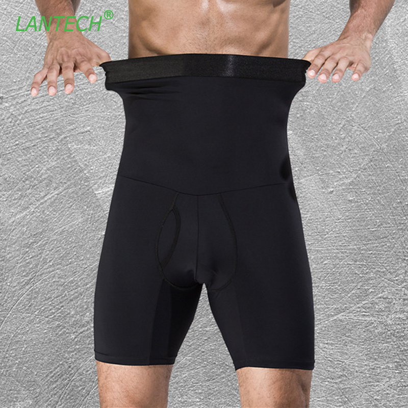 LANTECH Men Compression Shorts Stomach Shapers Bodybuilding Tight Underwear Boxers Running Box Exercise Fitness Gym Shorts