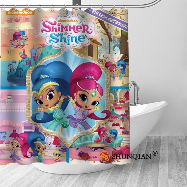 Shimmer Shine Bath Curtain 100 Polyester Fabric Shower Bathroom Beautiful Decor Print Your Picture