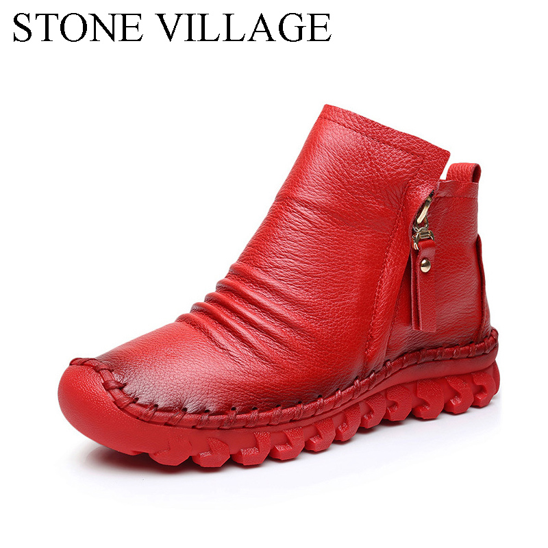 2017 Autumn And Winter New Handmade Genuine Leather Shoes Women Soft  Pure Cowhide  Flat Casual Ankle Boots For Women Black Red autumn and winter new personality retro cowhide ankle boots handsome female waterproof platform genuine leather women shoes 9731