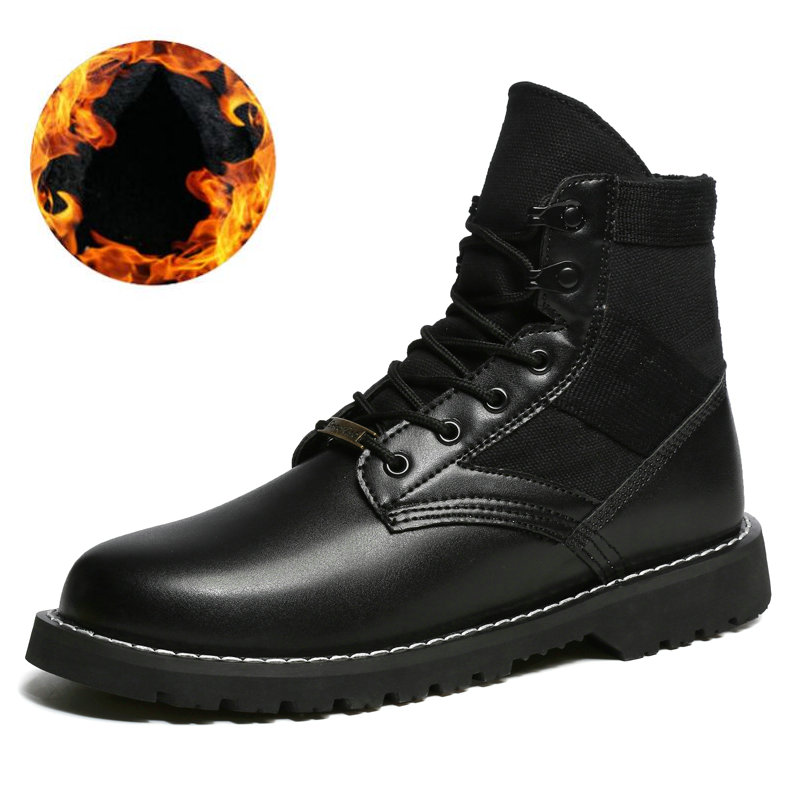 2018 Unisex Leather Boots Fashion Winter/autumn Casual Ankle Boots Warm Couple Snow Boots Big Size Waterproof Military Boots Men цена