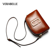 VERABELLE high quality vintage bohemian oil-waxing split leather shoulder Women mini shell messenger/crossbody purses female bag