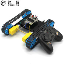 DIY Assembled Tank Model with Remote Control Robot Chassis Smart RC Robot Kit Crawler Caterpillar Vehicle for Children diy rc tank chassis with rubber caterpillar tread track for rcl car rc tank model robot track tire rc tank chassis