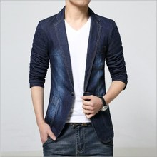 Korea Gaya Pria Slim Fit Denim Blazer Pria Jaket Denim Rekreasi Pria Hitam Biru  Jeans Blazer f9c13d76eb