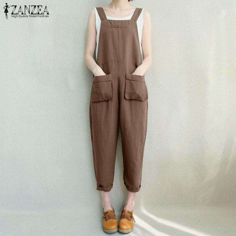 ZANZEA Women Long Jumpsuit Strappy Pockets Casual Loose Harem Rompers Overalls Bodysuit Combinaison Femme Dungaree Plus Size 5XL