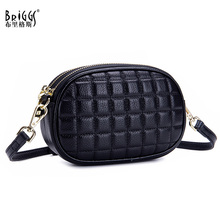 BRIGGS New Genuine Leather Women Handbag Vintage Plaid Shoulder Bag Messenger Casual Designer Small Crossbody For Ladies