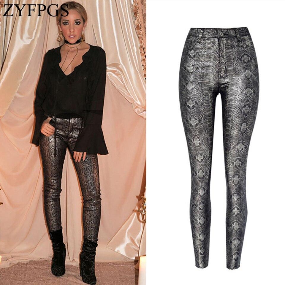 ZYFPGS 2018 Hot Women's Casual Pants Snake Skin Design Pants Basic Slim Sexy Ladies Elastic New Fashion Dark Gray Grid Z1218