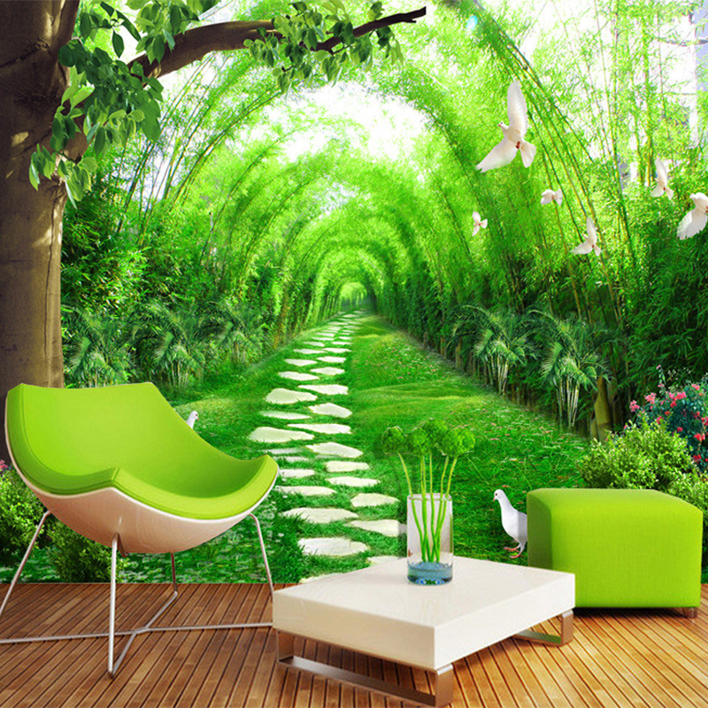 3d wallpaper nature scenery fresh bamboo forest road for Bamboo forest wall mural wallpaper