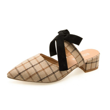 Butterfly-Knot Classics Gingham Women Slippers Plus Size Summer Sweet Dress Women Sandals Low Heels Pointed Toes Women Shoes old pueblo traders women s plus size side knot dress