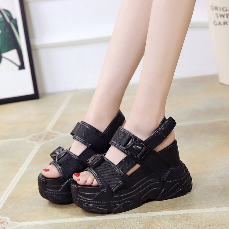 HTB13GP9bojrK1RkHFNRq6ySvpXaP Fujin High Heeled Sandals Female Increased Shoes Thick Bottom Summer 2019 New Women Shoes Wedge with Open Toe Platform Shoes