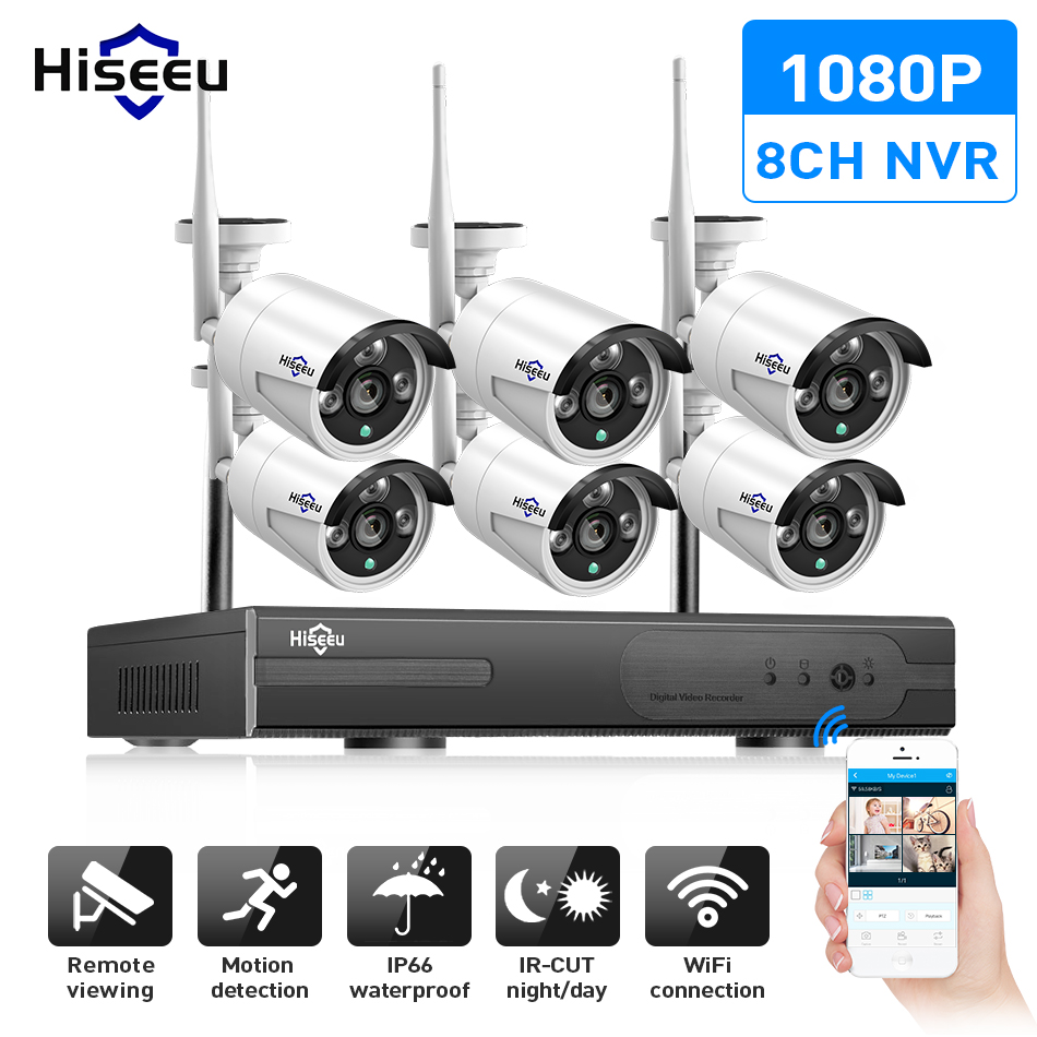 Hiseeu 8CH CCTV Camera System Wireless 6pcs 1080P wifi IP Camera Outdoor Home Security Video Surveillance System NVR kit