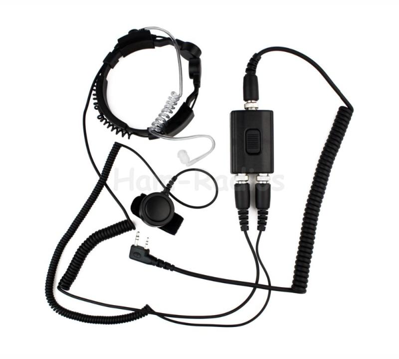 Military Police Equipment Throat Mic Air Tube Headset For Kenwood