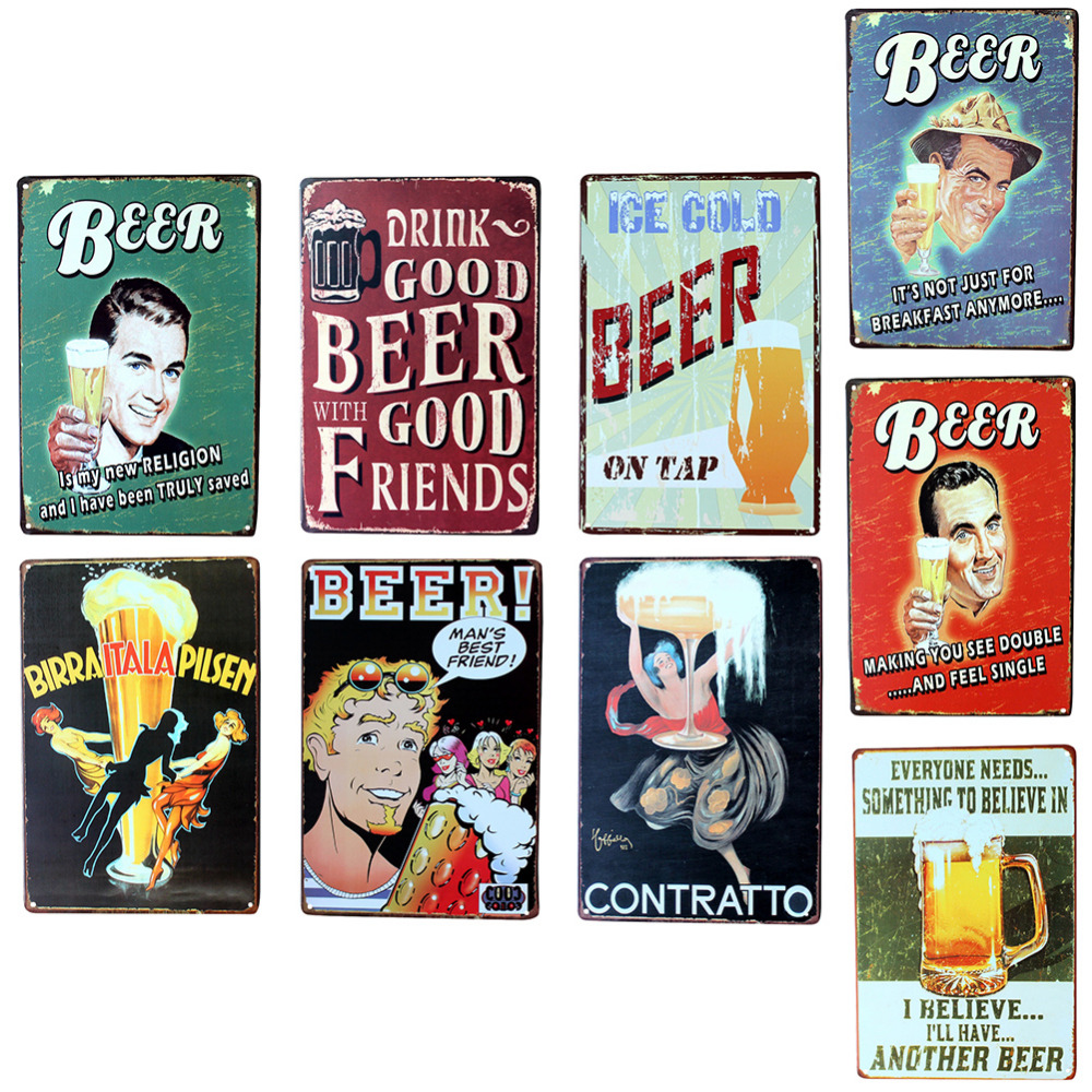Wall Poster 20*30CM Metal Stickers Tin Sign Pub Club Gallery Poster tips Vintage Plaque Decor Plate New Kinds of Beer Theme