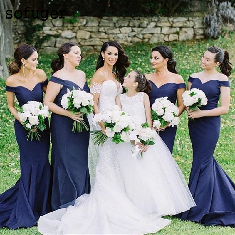Navy Blue Satin Sweetheart Girl Pleat Special Occasion Bridesmaid Dresses Formal Vestidos Para Boda Invita Wedding Party Dresses