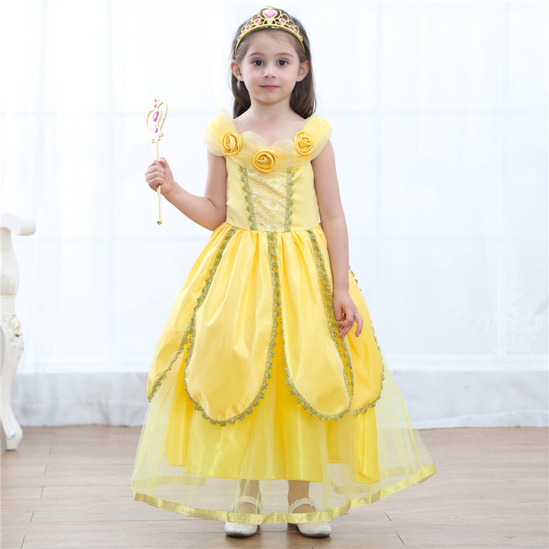 2018 Children Belle Princess Dress Girl Dresses Toddler Party Costume Girls Clothes Kids