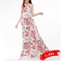 Women Plus Size Bohemian Beach Dress Floral Print Hollow Out Waist Sexy Sleeveless Strap Backing Long Maxi Dresses 4Xl