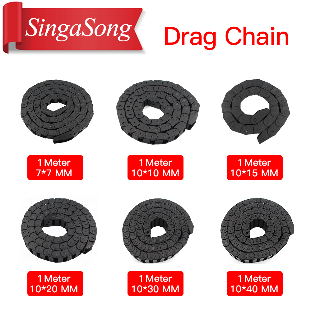 1Meter Plastic Transmission Drag Chain for Machine Cable Drag Chain Wire Carrier with end connectors for CNC Router Machine Tool
