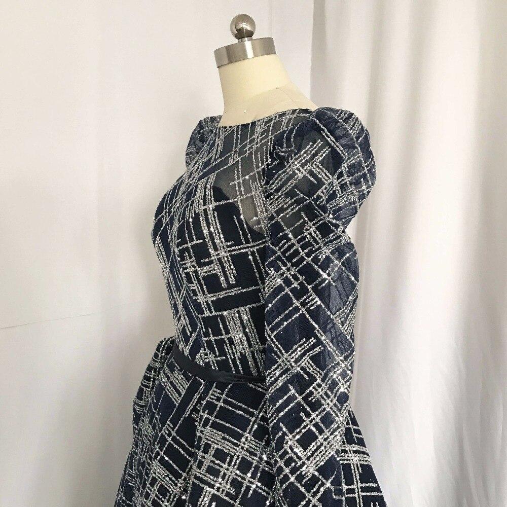 Vestidos de Noche de diseño azul marino oscuro con cuello Barco de manga larga sin espalda plisado una línea Bling 2018 - 6