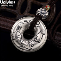 Uglyless Real 99.9% Full Silver Buddha Hand Lotus Leaves Pendants WITH Rope chain Heart Sutra Buddhism Necklaces Buttons Jewelry