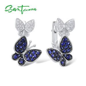 Image 2 - Santuzzaジュエリーセット女性のための本物の925スターリングシルバーゴージャスなブルー蝶イヤリングリングセット光沢のあるczファッションジュエリー