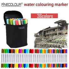 Дешевые Finecolour на водной основе Цветной маркеры 12/24/36 компл. моющиеся ручки акварель Manga Эскиз Маркер двойная линия рисунок artist Pen