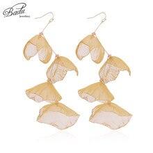Badu Long Flower Dangle Drop Earrings for Women Irregular Shape Golden Hook Earring Bohemian Jewelry Christmas Wholesale