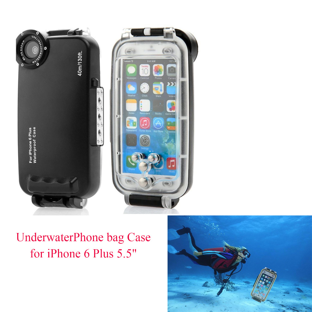 Meikon 40m 130ft Rated Dive Professional Submersible Waterproof Underwater Housing Diving Phone bag Case for iPhone 6 Plus 5.5 mcoplus 40m 130ft ipx8 5 5 inch underwater waterproof photo housing diving protective case cover for iphone 6 plus black