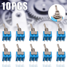 10pcs Durable MTS-202 6-Pin DPDT Switch ON-ON 6A 125V AC Miniature Mini Electrical Blue Toggle Switches 2 Positions Mayitr