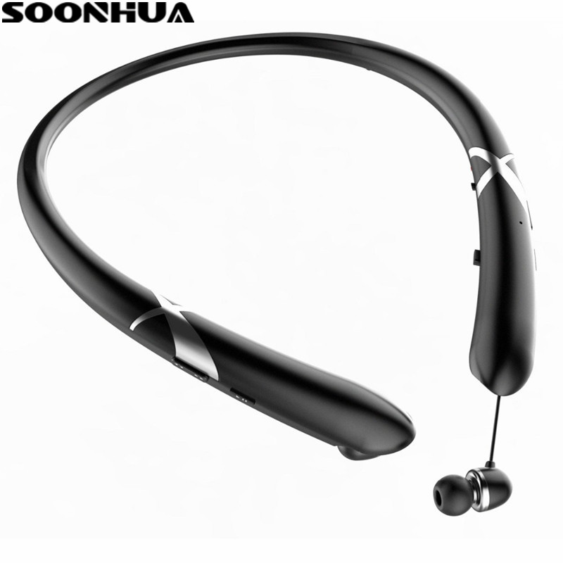 SOONHUA Magnetic Bluetooth Earphones With Microphone Sports Sweatproof Headset Magnetic Wireless Handsfree Sport Headphones