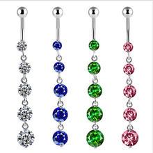 Длинные висячие кольца для пупка с кисточкой пикантные Кристальные