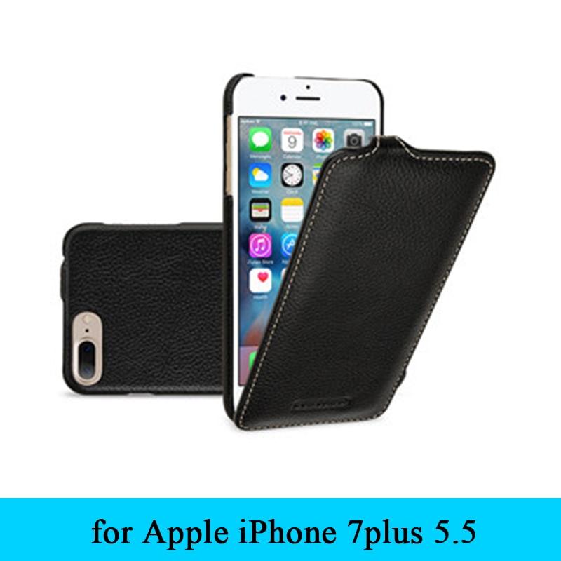 Étui en cuir véritable de vache de première qualité affaires haut et bas Flip sac de couverture de peau de téléphone pour Apple iPhone 7 plus 7plus 5.5 + cadeau gratuit