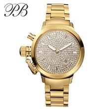 PB Marca de Lujo de Cristal Austriaco Mujeres de Oro y Plata Reloj de Acero Inoxidable Top Ladies Diamond Cuarzo Vestido Relojes montre femme