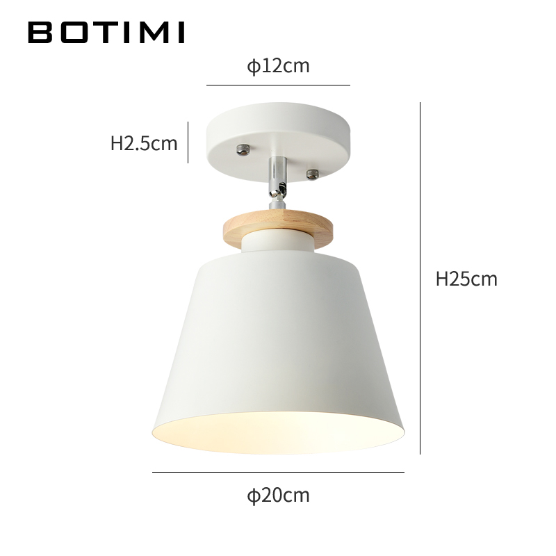 BOTIMI Metal LED Ceiling Lights For Corridor Nordic Wooden Ceiling Mounted White Green Gray Kitchen Lighting
