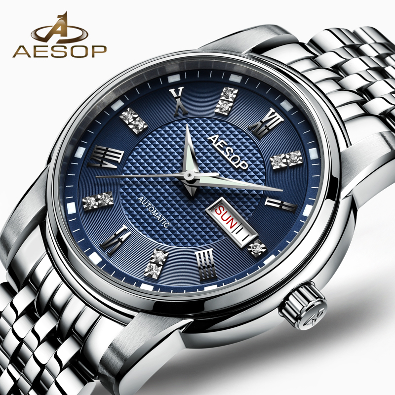 AESOP Business Watch Men Automatic Mechanical Sapphire Crystal Blue Wristwatch Auto Date Male Clock Relogio Masculino Hodinky 46 angie st7194 fearless series male auto mechanical watch