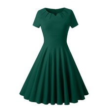 Women Elegnat Solid Plain Green Dress Short Sleeve Pleated Neck 1940s Retro Swing Vintage Dress 40s Party Flare Skater Dresses недорого