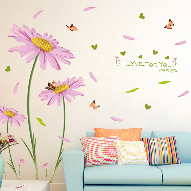 Pink flower vinyl decals plants wallpaper women home bedroom decoration daisy wall stickers removal diy available