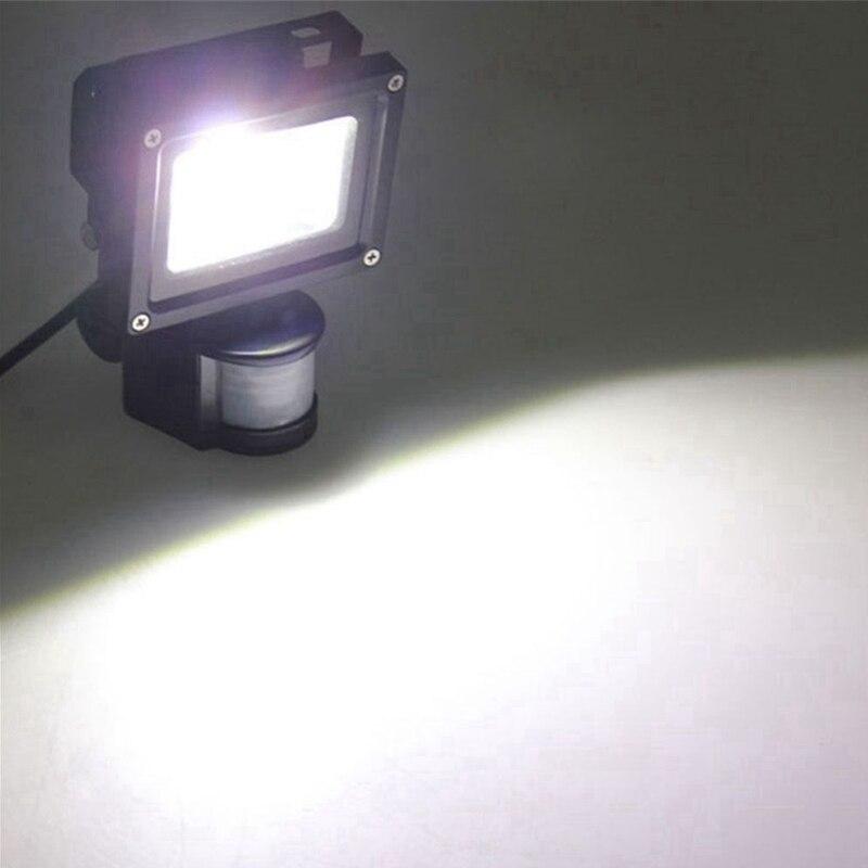 PIR 10W LED floodlight Toolery 12V 24V input spotlight waterproof Solar system garage security Motion Sensor Time Lux adjustable