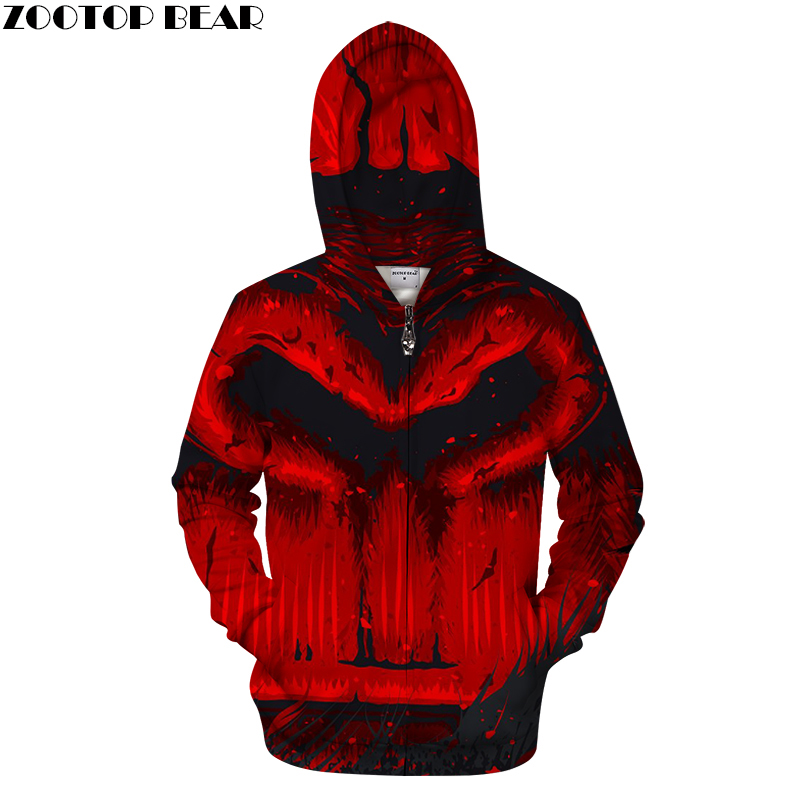 Red 3D Zip Hoodie Men Zipper Hoody Casual Sweatshirt HoodedTracksuit Brand Pullover Printed Coat Halloween Drop Ship ZOOTOPBEAR