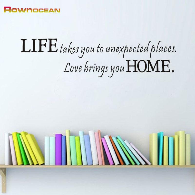 ROWNOCEAN Leben Zu Hause Englisch Schriftzug Heimtextilien Zubehr Kunst Wandaufkleber Vinyl Kundenspezifische Farbe Decor Wohnzimmer W