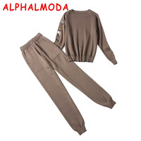 ALPHALMODA Winter Women's Embroidered Sleeve Sweater Pants Sets Knitted Long-sleeve Floral Sweater + Pants Suits