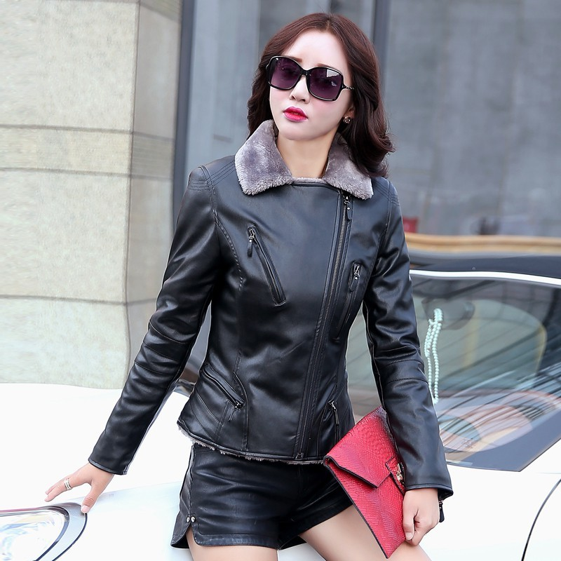 c10fa6e9675 [5] Women Winter Fur Lining Jacket Thick Warm Turn Down Collar Biker Slim  Fit Windproof High Quality Leather Coat Plus Size L 5XL-in Leather & Suede  from ...