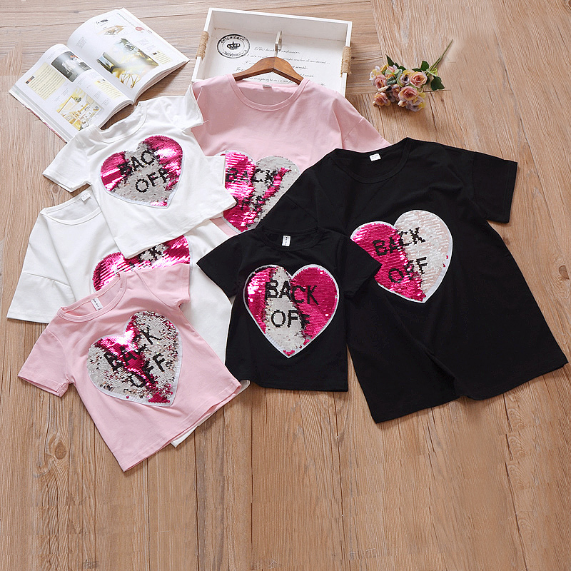 Color Changing Shirts >> Reverse Sequins Hearts Cotton T Shirts Girls Reversible Sequin