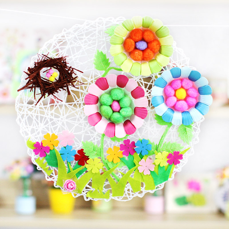 25PCS LOT5 Color Flower Plate Craft Material Kindergarten Arts Work DIY Creative Toys Early Learning Educational In Drawing From