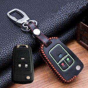 Image 2 - Custodia protettiva per portachiavi in pelle luminosa cucita a mano per buick Chevrolet Cruze Aveo TRAX Opel Astra Corsa Meriva Zafira Antara