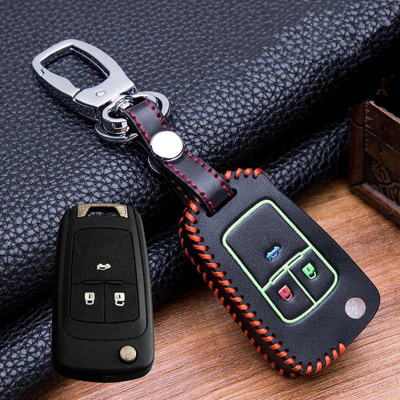 Image 2 - Hand sewing Luminous Leather  Key Holder Cover Case For buick Chevrolet Cruze Aveo TRAX Opel Astra Corsa Meriva Zafira Antara-in Key Case for Car from Automobiles & Motorcycles