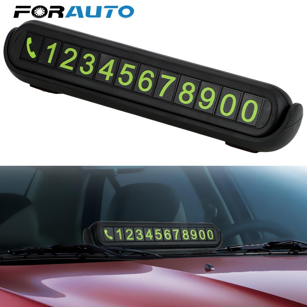 Bercahaya Nomor Telepon Kartu Tersembunyi Nomor Plat Universal dengan Wangi Tangki Auto Aksesoris Mobil Sementara Kartu Parkir