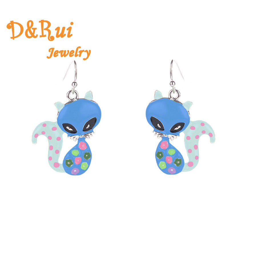 2019 Hot Sale Metal Earrings For Women Charms Enamel Animal Fox Statement Drop Dangle Earings For Wedding Jewelry Accessories in Drop Earrings from Jewelry Accessories